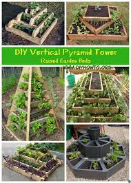diy vertical pyramid tower planters and raised garden beds plans and instructions with wood structures or garden blocks free plans