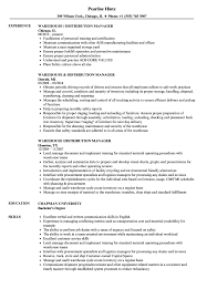 Warehouse Distribution Manager Resume Samples Velvet Jobs