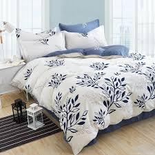blue olive leaf print bed linen set striped plaid bedding sets bohemian bedspread fl bedclothes modern