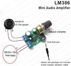 <b>DC 3V</b>-12V <b>LM386 Mini</b> Micro Audio Amplifier AMP Module Board ...