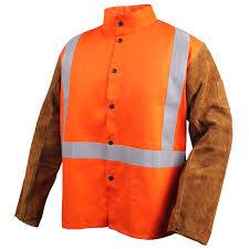 safety fr cotton cowhide hybrid welding jacket safety orange