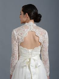 Long Sleeve Alencon Lace Bolero With Keyhole Back Lace_100
