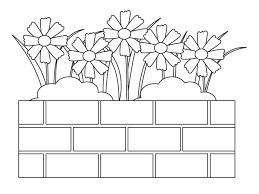無料の花壇に咲いたコスモスのぬりえ ぬりえパーク