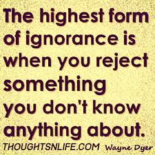 The Highest Form Of Ignorance Is