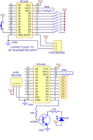 level fun robotics in the left side s circuit diagram there are ht 640 encoder and ht 648l decoder are shown there are such many more combinations are available for