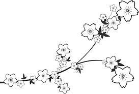 ポップでかわいい花のイラストフリー素材no1329白黒枝葉桜型
