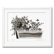 絵画 モノクロ 壁掛け インテリア アイビーと多肉植物白額 アートワーク