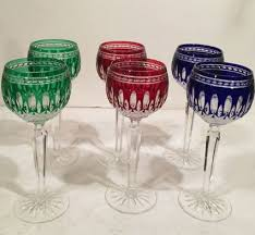 six colored waterford wine goblets