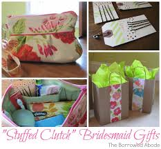 bridesmaid clutch filled with toiletries as gift