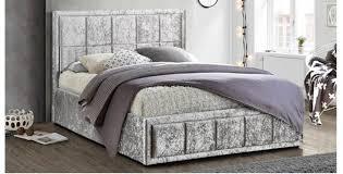 osaka king size bed grey crushed velvet