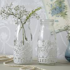 Decorative Milk Bottles Decorative Milk Bottles with Lace Pair Glass milk bottles 1