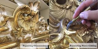 above images of the frame during the restoration process showing repairs being made to ornaments and s on the frame and showing the burnishing of new