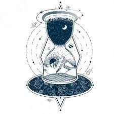 Vektor Vektor Tetování S Přesýpací Hodiny Orámování Nebe A Země Na
