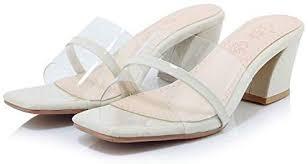 ELEEMEE Women <b>Fashion Block Heel Mules</b> Transparent Open ...