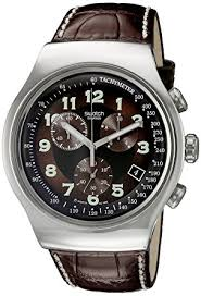swatch mens your turn black dial brown leather strap watch swatch swatch mens your turn black dial brown leather strap watch
