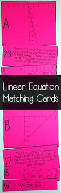 this linear equation matching activity looks like a fun idea for my 8th grade algebra