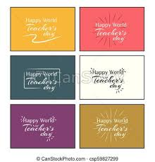 Happy World Teachers Day Hand Lettering Business Card Template Vector Illustration
