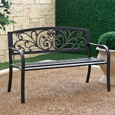 black wrought iron patio furniture. this outdoor patio bench has weathered black wrought iron furniture