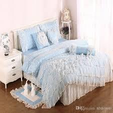 bedding lots elegant blue bed sheets for girls light blue cotton satin princess lace girl duvet cover bed