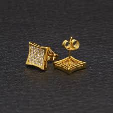 Mens Designer Earrings 2019 New Mens Designer Jewelry Stud Earrings Hip Hop Fashion Earrings Gold Simulated Diamond Square Earrings For Men From Hiphopfamily 9 83