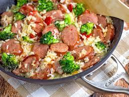 smoked sausage cheesy rice