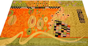 klimt orange green rugs abstract wall hangings accent carpets hand embroidered modern area rug tapestry contemporary carpet decorative wall art tapestries