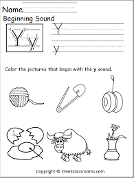 Phonics is a method of teaching kids to learn to read by helping them to match the sounds of letters, and groups of letters, to distinguish words. Free Beginning Sound Worksheet Y Free4classrooms