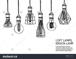 Hand Drawn Vector Set Of Different Geometric Loft Lamps Edison