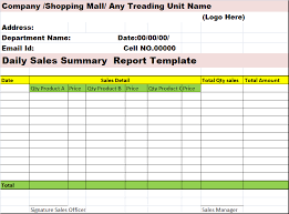 Daily Sales Summary Report Free Word Document Sales