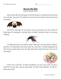 Reading Comprehension Worksheet - Benny the Bat | comprehension ...