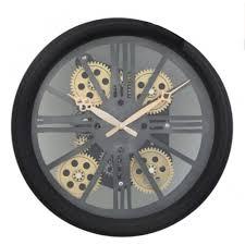 black gears skeleton wall clock