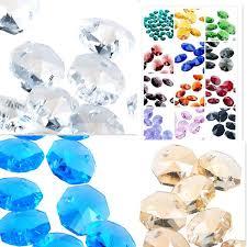 crystal lamp parts color cut glass crystals lamp parts octagon beads connectors rainbows maker chandelier vintage