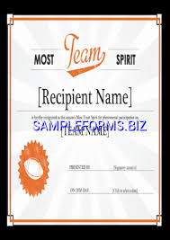 Download Team Spirit Award Certificate Word Pdf