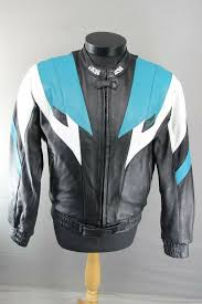 details about superb ixs black turquoise white leather flame biker jacket 42 inch