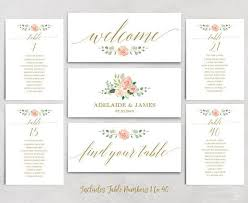 Peach Blush Wedding Seating Chart Template Header Signs And