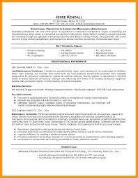 Maintenance Technician Resume Sample Maintenance Mechanic Resume Template Ideas