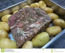 Raw Lamb Roast Stock Photo Image Of Potatoes Round 110153310