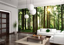 green forest wall art print made by digital printing for large wall  decoration