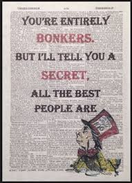 Mad Hatter Quotes Cool Mad Hatter Alice In Wonderland Bonkers Quote Print Vintage
