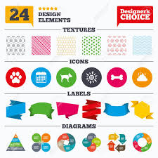 Chart Dog Graph Banner Tags Stickers And Chart Graph Pets Icons Dog Paw And