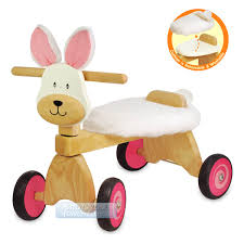 kids wooden riding trike pink bunny rabbit ride on baby activity walking toy