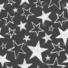 ブラシやチョークは異なるサイズのシームレス パターンの 5 先の尖った星を描画します大まかなテクスチ
