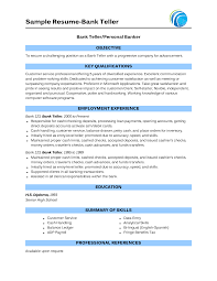 Objective In Resume For Banking Jobs Sample Of Bank Teller Resume With No Experience httpwww 1