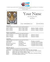 Resume Format For Actors. theatre resume templates. free acting ...