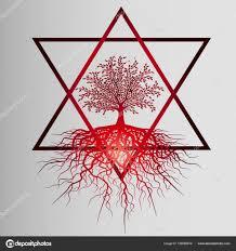 красное дерево жизни красивая идея татуировки векторное