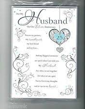25th anniversary poems for husband wedding anniversary card to my husband 25th wedding anniversary