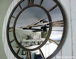 large wall clock with mirror large rustic glam wall clock giant wall clock mirror