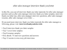 Thank You Letter After Interview For Management Position