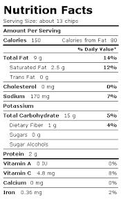 potato chip label