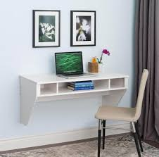 affordable white floating desks wall mounted including padded chair featuring 2 black framed wall art pictures